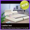 Supply New King Size Brown Faux Leather Euro Modern Upholstered Platform Bed 2858#
